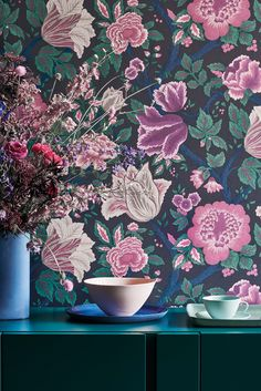 Midsummer Bloom depicts abundant summer flowers in full bloom. This blousy print was found in the Cole & Son archive and re-painted by the Design Studio to create a rich and lavish trailing floral Summer Flowers, Colorful Flowers, Cole And Son Wallpaper, Teal Wallpaper, Botanical Wallpaper, Beautiful Wallpaper, Iphone Wallpaper, Cole Son, Feature Wall Bedroom