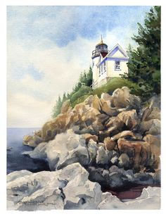 Bass Harbor Lighthouse . watercolor . illustration