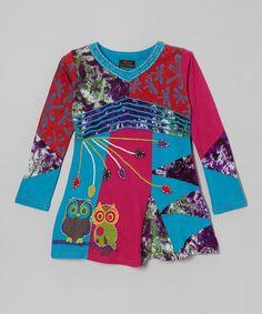 Another great find on #zulily! Blue & Purple Patchwork Owl Top - Girls #zulilyfinds