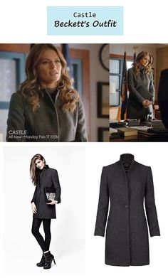 """February 24, 2014 @ 6:35 pm Stana Katic as Detective Kate Beckett in Castle - """"Smells Like Teen Spirit"""" (Ep. 615). Beckett's Coat:AllSaints """"Tula"""" Coat $505 here. More Castle outfits here. Source: ABC/ Luke Reichle @Luke Reichle's Secrets of the Red Carpet P.S. Updates on PINTEREST"""