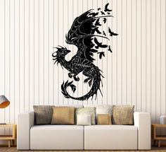Wall Sticker Dragon Birds Fantasy Fairytale Gothic Decor For Bedroom (z2514)