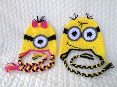 Child or Teen/Adult Minion hat inspired by by MrsPsPretties, $25.00