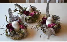 Wreaths - Easter nests set - a unique product by Perla-Polarstation on DaWanda Katrin Liebschner, Dambeck. Fall Crafts, Easter Crafts, Diy And Crafts, Diy Spring Wreath, Diy Wreath, Easter Wreaths, Christmas Wreaths, Diy Osterschmuck, Diy Easter Decorations