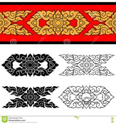 Illustration about Line Thai art design Vector illustration. Illustration of ornament decorative ornate - 77749760 Chest Tattoo Cover Up, Cover Up Tattoos, Border Pattern, Pattern Art, Tibetan Symbols, Thai Design, Thailand Art, Asian Tattoos, Thai Art
