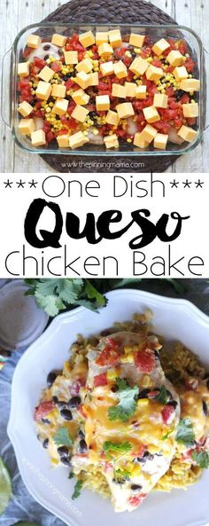 20 Delicious Low Carb Chicken Recipes Queso Chicken Bake Recipe - This dinner recipe is so easy you can have it from the fridge to the oven in 10 minutes! And wow is it good! Rotel queso dip was always my favorite! Chicken Dishes For Dinner, Dinner Dishes, Food Dishes, Main Dishes, Low Carb Chicken Recipes, Mexican Food Recipes, Cooking Recipes, Chicken Rotel Recipes, Cooking Games