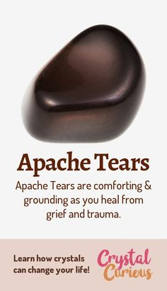 Apache Tears are comforting & grounding as you heal from grief and trauma. Learn more about healing crystals and gemstones. Crystal Magic, Crystal Healing Stones, Stones And Crystals, Grounding Crystals, Gem Stones, Minerals And Gemstones, Crystals Minerals, Rocks And Minerals, Apache Tears Stones
