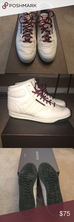 0847958a489 Gucci Sneakers Men Gucci Hi Top Leather Sneakers. In good condition. Extra  all white