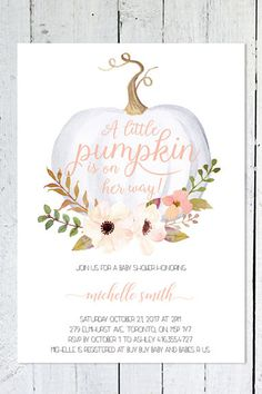 Fall Baby Shower Invitations – Pumpkin Baby Shower Decorations – Girl Baby Shower Ideas – Baby Shower Invites – October Baby Shower … - New Deko Sites Otoño Baby Shower, Bebe Shower, Baby Girl Shower Themes, Girl Baby Shower Decorations, Baby Shower Fall Theme, Baby Shower Invites For Girl, Baby Shower For Girls, Coed Baby Shower Invitations, Baby Shower Invitaciones