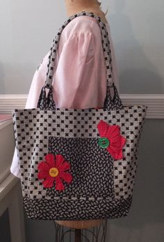 Homemade Tote Bag - Black and White Cotton Fabric, Red Flowers, Pockets, Sewing Themed Interior, Needlework Bag, Knitters Tote, Sewing Bag