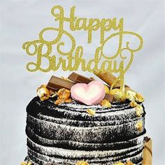 2pcs Gold /Silver Glitter Cake Topper Happy Birthday Party Supplies Decorations  #NEW #Party