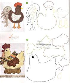♥ Applique pattern: galline - chicken