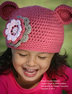 bear hat with flower
