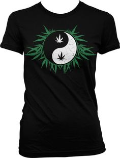 Marijuana Ying Yang Juniors T-shirt, Funny Trendy Hot Weed Smoking Juniors Shirt