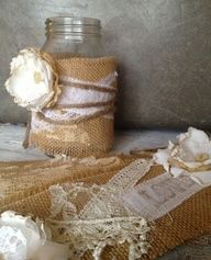 Rustic Wedding Decor, Rustic Centerpiece, Burlap Mason Jar Centerpiece,  DIY Vintage Wedding Decor. $30.00, via Etsy.