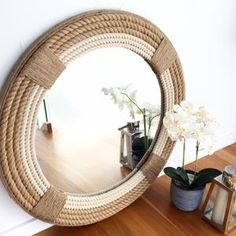 Round Mirror With Rope, Rope Mirror, Round Mirrors, Nautical Lamps, Nautical Home, Home Decoracion, Hanging Wall Art, Beach Themes, The Hamptons
