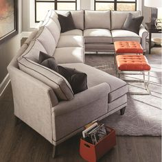 My Style II Transitional Sectional Sofa with Turned Legs by Rowe