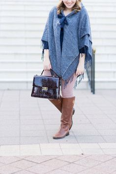 Navy Cape with Fringe via Glitter & Spice