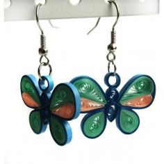 Quilling earrings. Blue butterfly. Unique handmade gift. 25% Off. Free shipping worldwide