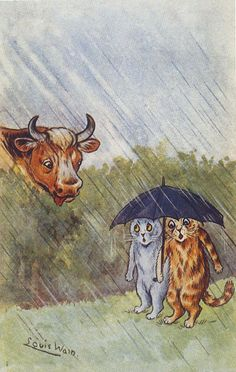 """Louis Wain Cats in Rain """"Cowed"""" by Cow Umbrella Reproduction Postcard Art And Illustration, Cat Illustrations, Louis Wain Cats, Kitten Drawing, Son Chat, Crazy Cats, Cool Cats, Cat Art, Cats And Kittens"""