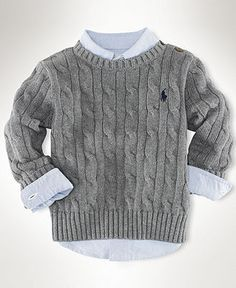 Ralph Lauren Baby Sweater, Baby Boys Classic Cable Crew Neck Sweater - Kids - Macy's