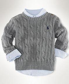 Ralph Lauren Baby Sweater, Baby Boys Classic Cable Crew Neck Sweater - Kids - Macy's