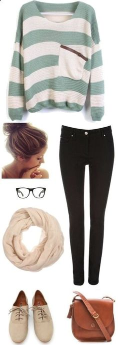 A simple outfit choice with white and green stripes and geeky glasses. #Outfithttp://asia-168.polyvore.com/trendy_comfy/set?.embedder=3671784&.svc=pinterest&id=52527975