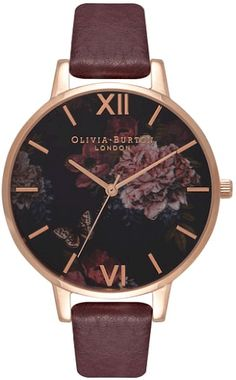 9f2435e465 Women s Olivia Burton Signature Florals Leather Strap Watch