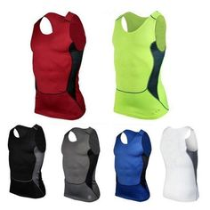 Men Compression Dri Fit Base Layer Shirt Tops Sleeveless Gym Running Sports Vest