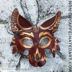 Brown and Gold Wolf  Handmade 8oz. Leather by NonDecaffeinatedArt, $120.00