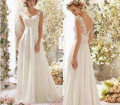 New White / Ivory Chiffon Pregnant wedding gown plus size by MY168, $145.00