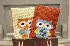 Owl BURP CLOTH set of 2 by PETUNIAS  exclusive design by PETUNIAS, $24.50