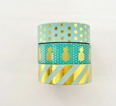 Mint Green Gold Foil Washi Tape Set of 3 by PapergeekCo on Etsy Washi Tape Storage, Washi Tape Crafts, Washi Tape Set, Duct Tape, Masking Tape, Paper Crafts, Cute School Supplies, Craft Supplies, Cinta Washi Tape