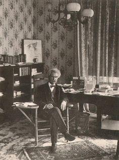 Mark Twain at home, 1903. Photo Credit: Alfred J. Meyer