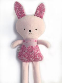 18 Plush Bunny Rabbit made with Oscha Roses by LittleSwingShop