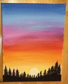How To Paint A Sunset In Acrylics – Hot Air Balloon Silhouette – Best Painting Beach Sunset Painting, Sunset Canvas, Sky Painting, Sunset Art, Sunset Acrylic Painting, How To Paint Sunset, Sunset Paintings, Drawing Sunset, Poster Color Painting
