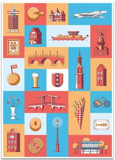 Amsterdam Guide Book Icons on Behance
