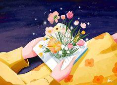 书里的春天 on Behance   Flower illustration, Illustration art, Graphic illustration