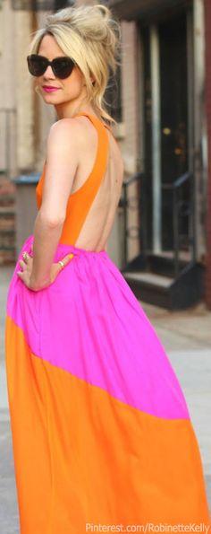 4f71488da Street Style | Hot Pink and Orange | Atlanta-Pacific- This season maxi  dresses