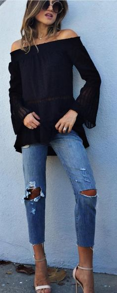 #spring #street #style #outfit #ideas |Black BTS Top + Ripped Denim