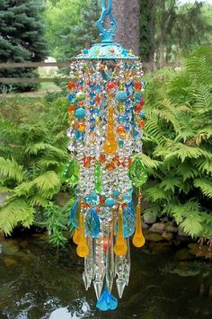 Wind chimes out of different types of beads