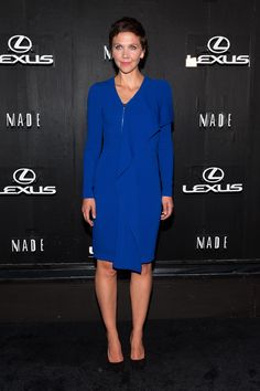 Maggie Gyllenhaal wearing a blue dress with zip and ruffle detailing from the Stella McCartney Autumn '14 collection in New York City. Photo courtesy of Getty Images.