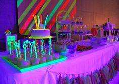 Neon glow party decorations Glow in the Dark 15 Neon Birthday Party