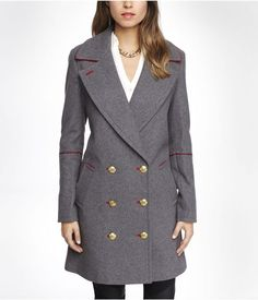 EXPRESS $248 RED PIPED DOUBLE BREASTED WOOL BLEND COAT GRAY PEACOAT JACKET GREY #Express #BasicCoat