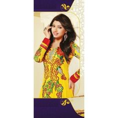 "BASE COLOR:Yellow  FABRIC OF PRODUCT:60 Gram Georgette  WORK:Embroidery  PRODUCT SIZE:Max. up to 40""  PATTERN:Long Anarkali Suits"