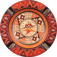 """item #: 3-123B  type: Handpainted Ceramic Ashtray  origin: Peru  size: 5"""" diameter  This geometric hand-painted Peruvian ashtray is a product of the country's own clay-soil. The distinctly Inca design incorporates geometry with nature, which is characteristic of Peru's culture."""