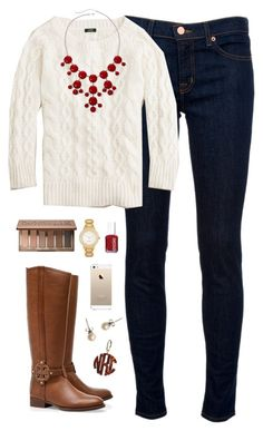 """""""sweater weather"""" by classically-preppy ❤ liked on Polyvore featuring J Brand, J.Crew, Tory Burch, Urban Decay, Kate Spade and Essie"""