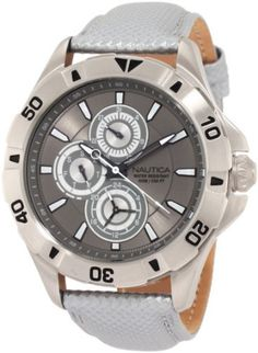 Nautica Men's N14570G NST 06 Multifunction Grey Leather Watch NAUTICA. $69.99. Stainless-steel case. Durable mineral crystal protects watch from scratches. Quartz movement. Multifunction movement. Water-resistant to 330 feet (100 M)