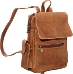 Le Donne Leather Distressed Leather Womens Backpack/Purse Tan - via eBags.com! $84