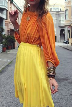 orange + yellow pleated all over \\ @dressmeSue pins great outfits