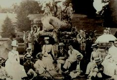 Garden party at Witley Court in front of the Perseus and Andromeda fountain circa 1900